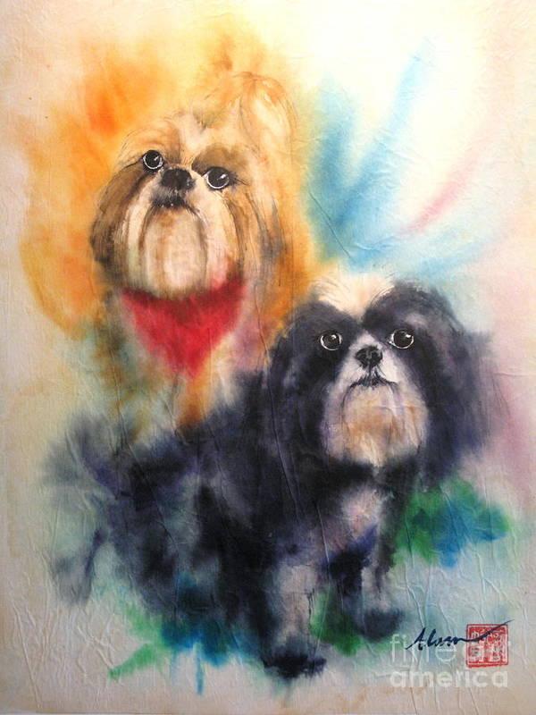 Shihtsu Poster featuring the painting Shih Tsu Siblings by Alan Goldbarg