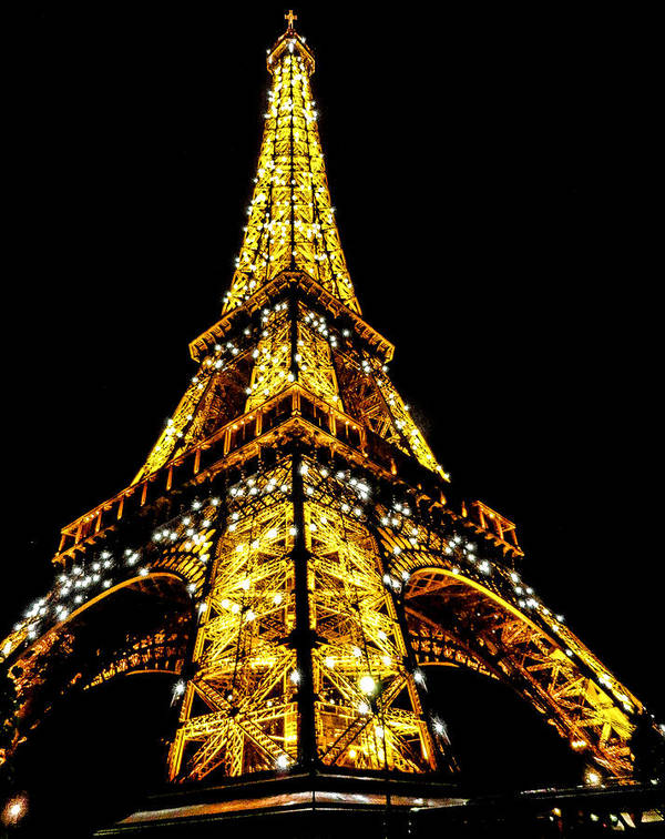 Eiffel Tower Poster featuring the photograph Shining at night by S M Hasan