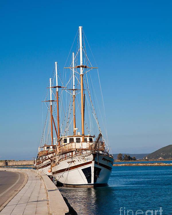 Lefkada Poster featuring the photograph Ships At Lefkada by Gabriela Insuratelu