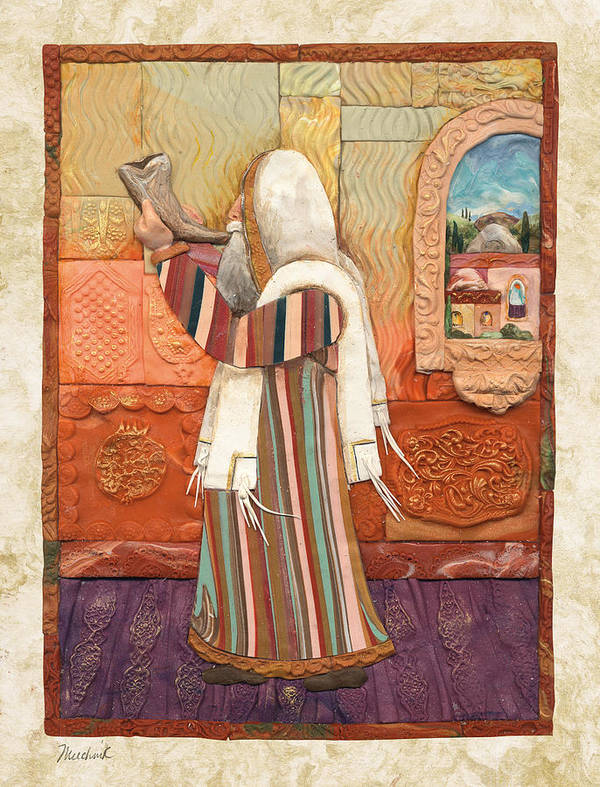 Ancient Poster featuring the painting Shofar by Michoel Muchnik