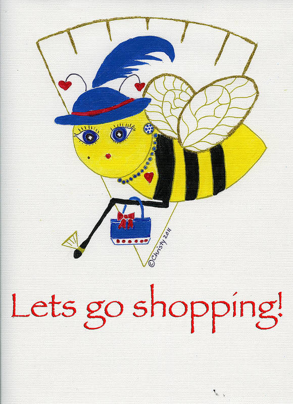 Lapis Blue Poster featuring the painting Shopping Bee Gilda by Christy Woodland