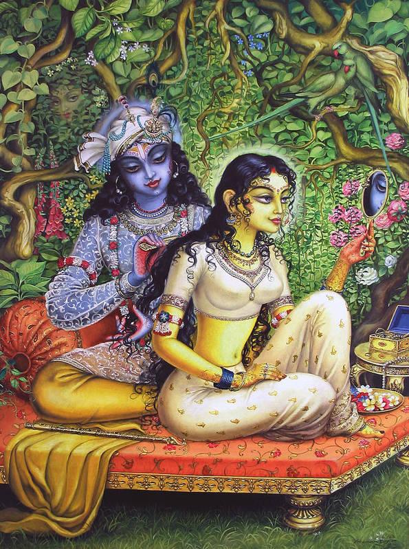 Krishna Poster featuring the painting Shringar Lila by Vrindavan Das