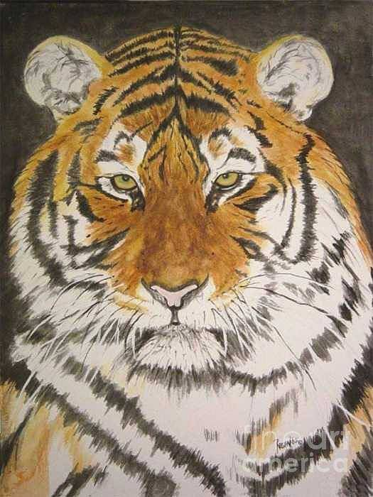 Siberian Tiger Poster featuring the painting Siberian Tiger by Regan J Smith