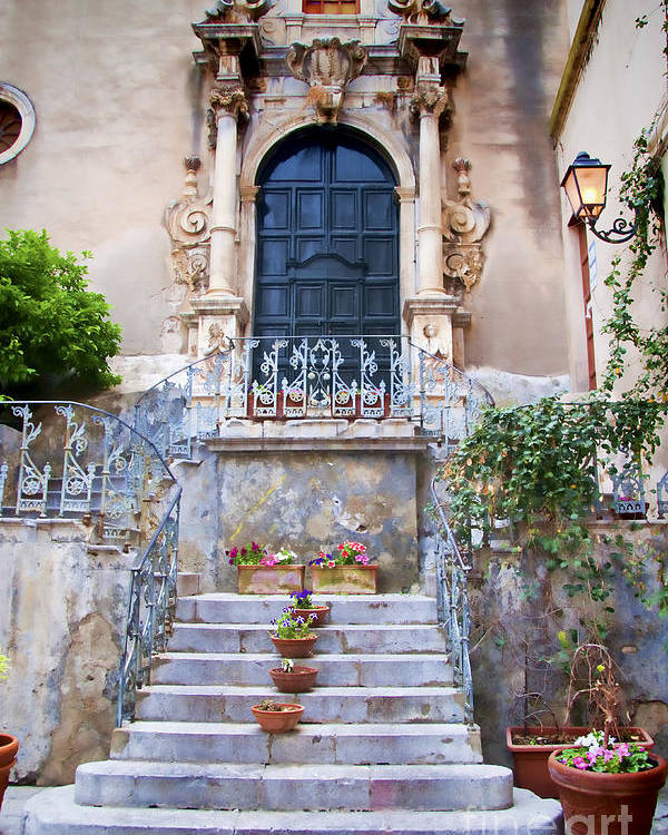 Sicily Poster featuring the photograph Sicilian Village Steps And Door by David Smith