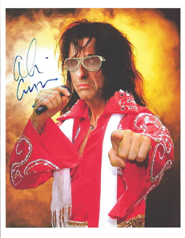 Signed Photo of Alice Cooper in costume s Elvis Presley by Desiderata Gallery