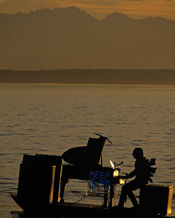 Travel Poster featuring the photograph Silhouetted Sea Monster Playing Piano.tif by Jim Corwin