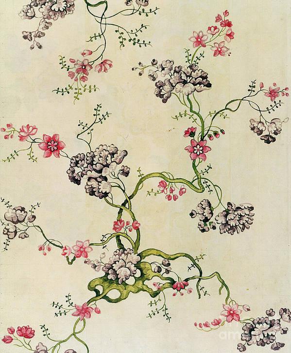 Pattern Poster featuring the tapestry - textile Silk Design by Anna Maria Garthwaite