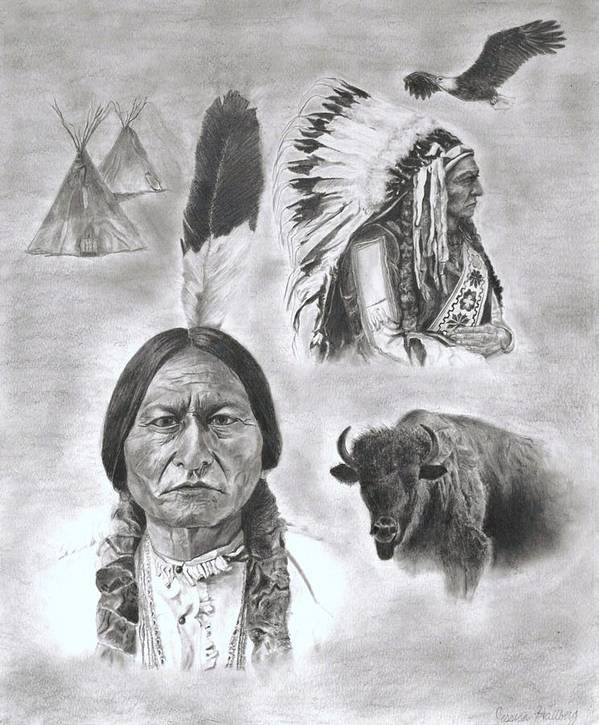 Sitting Bull Poster featuring the drawing Sitting Bull by Jessica Hallberg