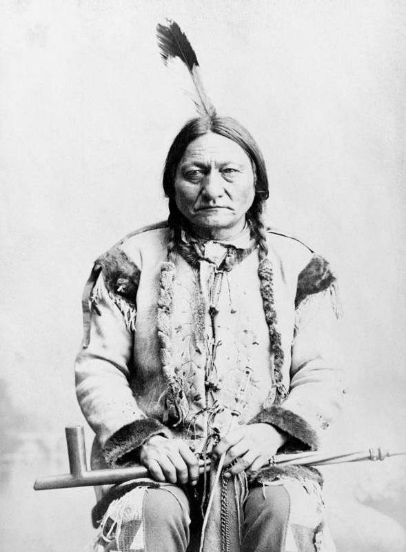 Native American Poster featuring the photograph Sitting Bull by War Is Hell Store