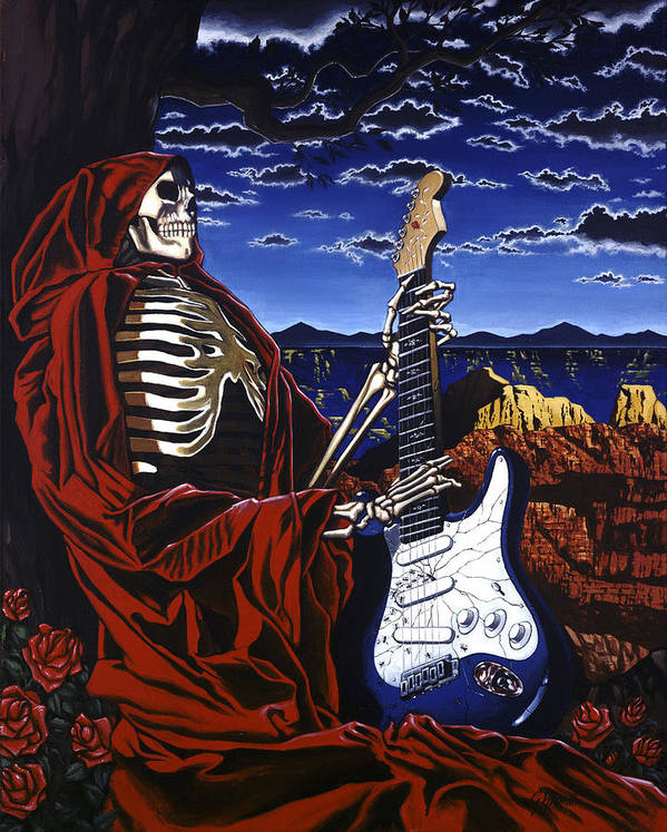 Grateful Dead Poster featuring the painting Skeleton Dream by Gary Kroman