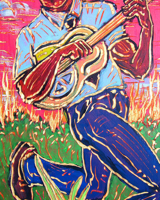 Blues Poster featuring the painting Skippin' Blues by Robert Ponzio