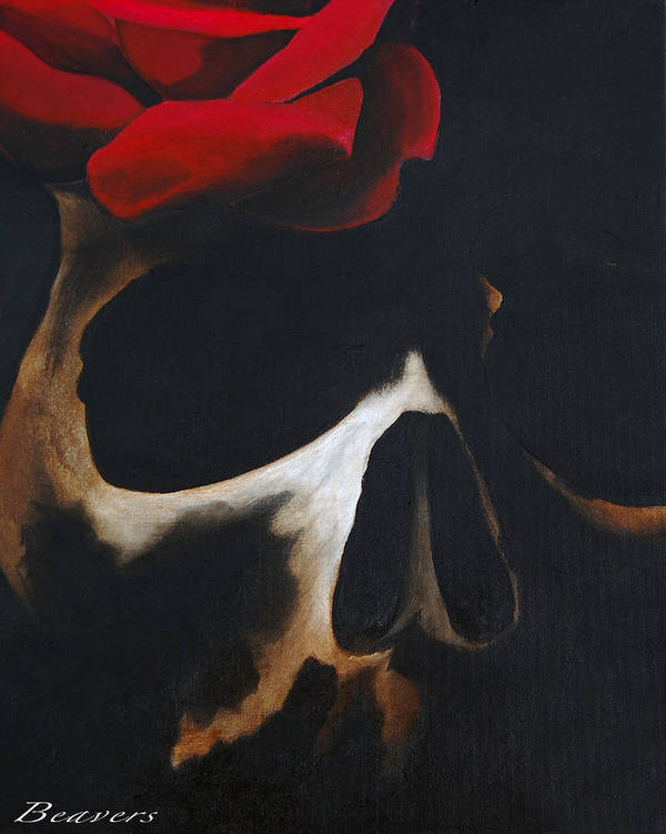 Skull Poster featuring the painting Skull Rose by Jason Beavers