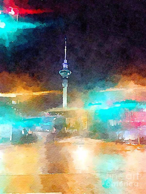 Sky Tower Poster featuring the painting Sky Tower by night by HELGE Art Gallery