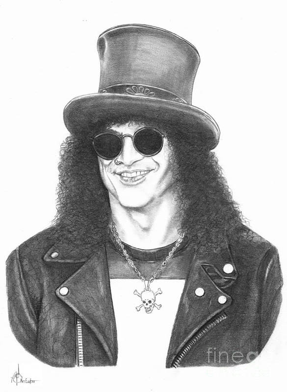 Pencil Poster featuring the drawing Slash by Murphy Elliott