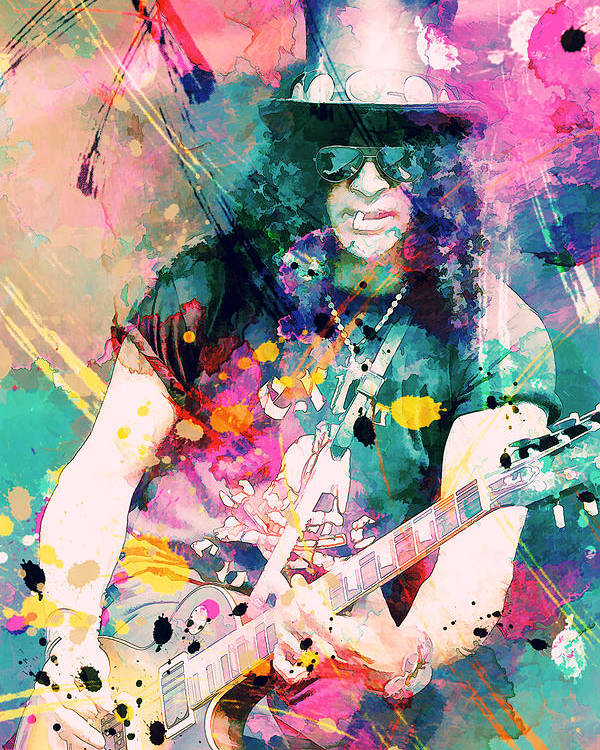 Slash Poster featuring the painting Slash by Rosalina Atanasova