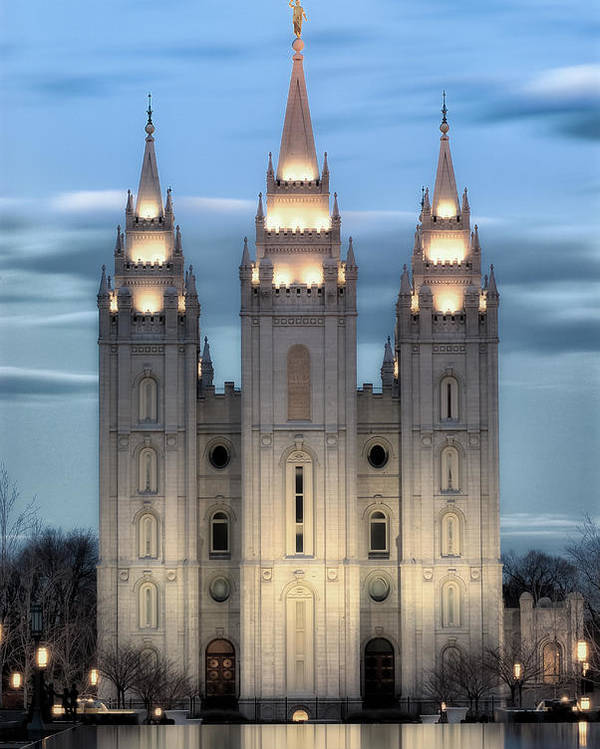 Salt Lake City Temple Photography Poster featuring the photograph Slc Temple Blue by La Rae Roberts