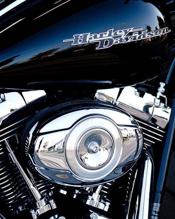 Classic Cycle Poster featuring the photograph Sleek Black Harley by David Patterson