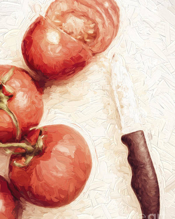 Knife Poster featuring the digital art Sliced Tomatoes. Vintage Cooking Artwork by Jorgo Photography - Wall Art Gallery