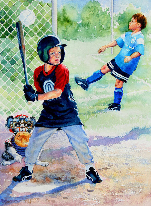 Baseball Poster featuring the painting Slugger And Kicker by Hanne Lore Koehler