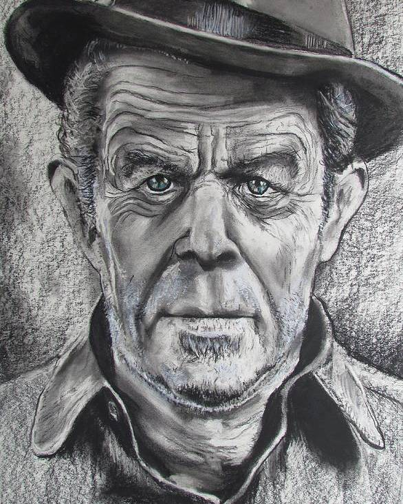 Tom Waits Poster featuring the drawing Small Change for Tom Waits by Eric Dee