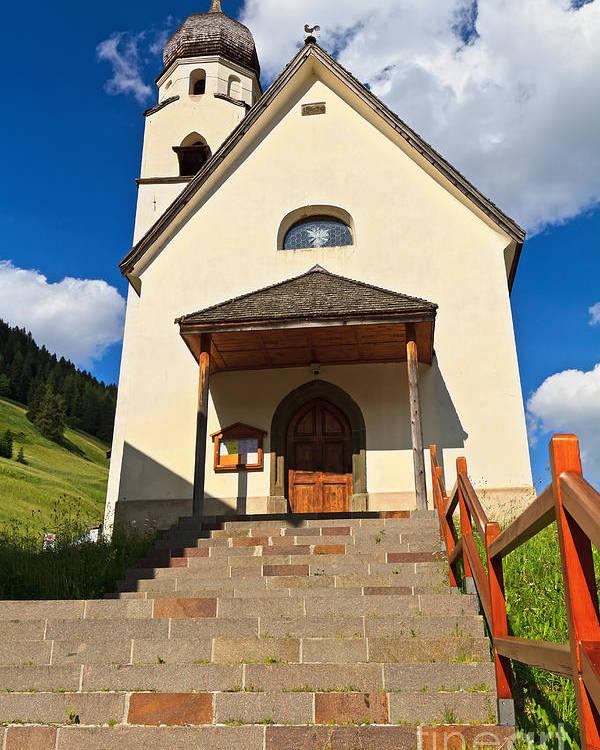 Alpine Poster featuring the photograph small church in Penia by Antonio Scarpi