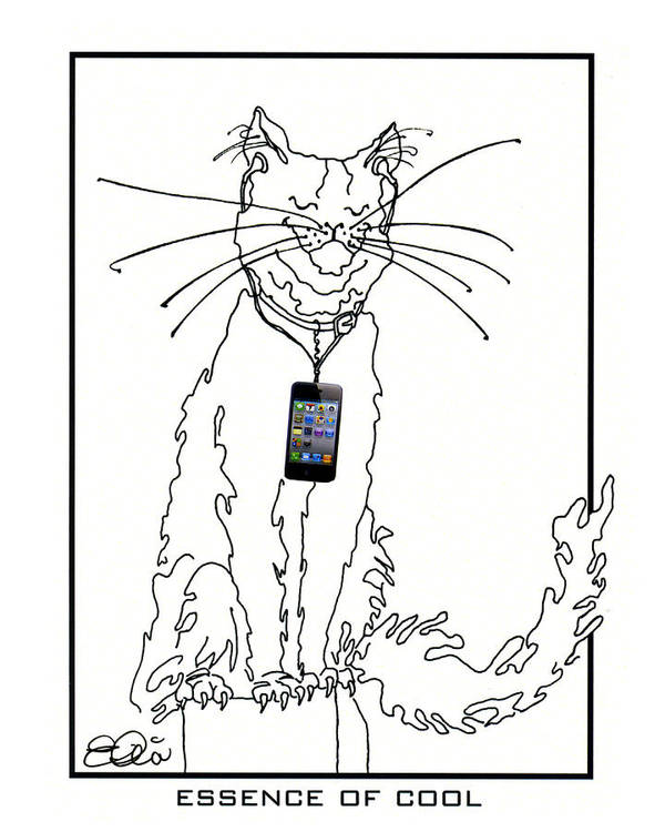 Alley Cat Poster featuring the drawing Smart Phone Cat by Elia Peters