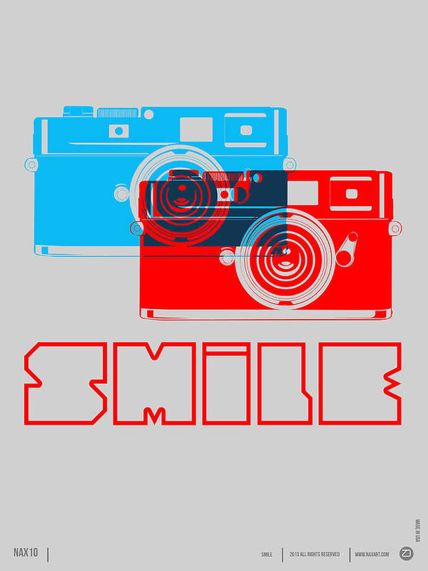 Poster featuring the digital art Smile Camera Poster by Naxart Studio