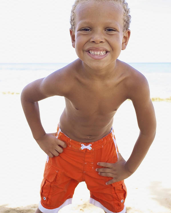 Beach Poster featuring the photograph Smiling Boy On Beach by Kicka Witte