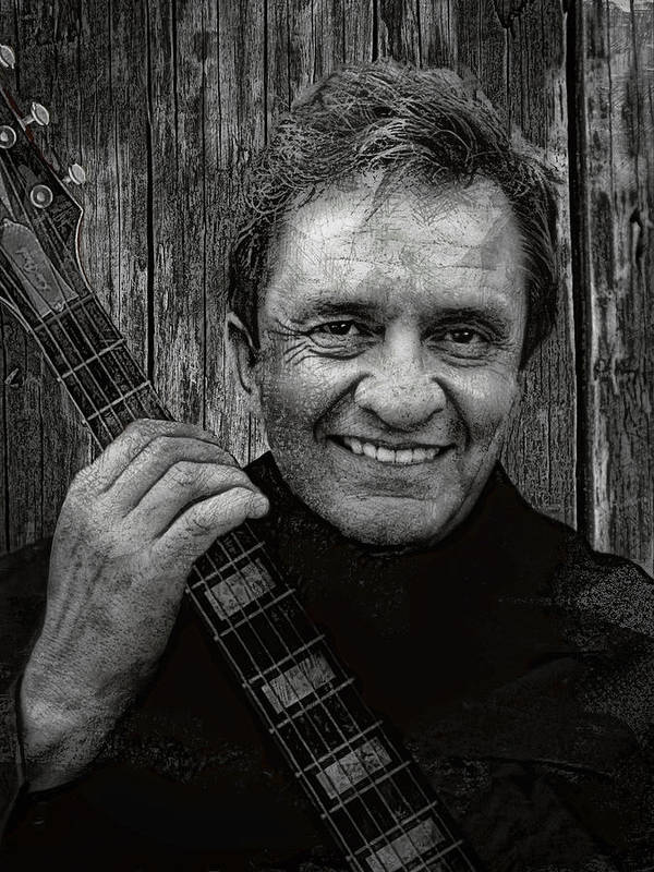 johnny Cash Poster featuring the digital art Smiling Johnny Cash by Daniel Hagerman