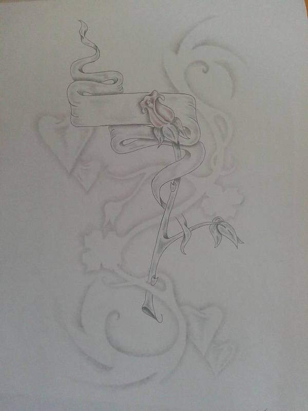 Rose Banner Smoke Hearts Poster featuring the drawing Smoke Love And Roses by Jeffrey Lamey
