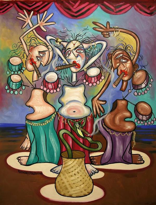 Smoking Belly Dancers Poster featuring the painting Smoking Belly Dancers by Anthony Falbo