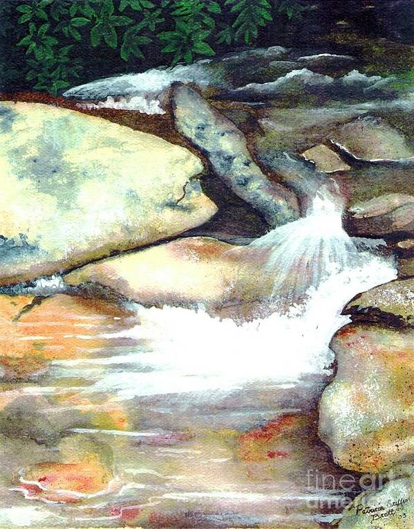 Fine Art Poster featuring the painting Smoky Mountains Waterfall by Patricia Griffin Brett