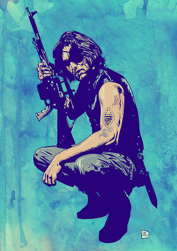 Kurt Russel Poster featuring the drawing Snake Plissken by Giuseppe Cristiano
