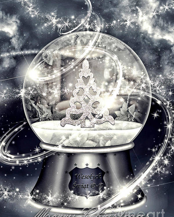 Snow Ball Poster featuring the digital art Snow Ball by Mo T