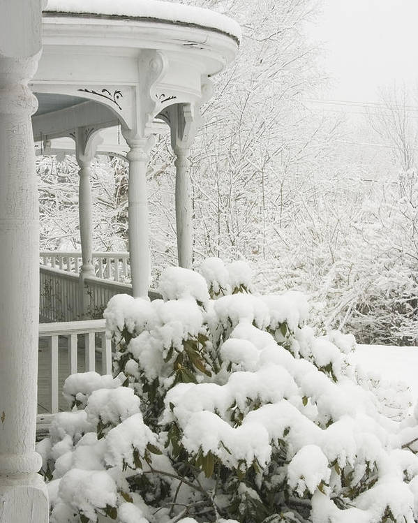 Winter; Winter Weather; Snow; Snowstorm; Porch; Victorian Porch; Deck; Architecture; House; Rhododendrun; Winter In Maine; Maine Winter; Victorian Architecture; Maine Landscapes; Cold Weather; Countryside; Maine Countryside; Rural Maine; Snowing; Cold; Ice; Overcast; Weather; Landscape; Frozen; December; January; Rural Scene; Non Urban Scene; Scenic; Scenic Maine; Tree; White; Outdoor Poster featuring the photograph Snow Covered Porch by Keith Webber Jr