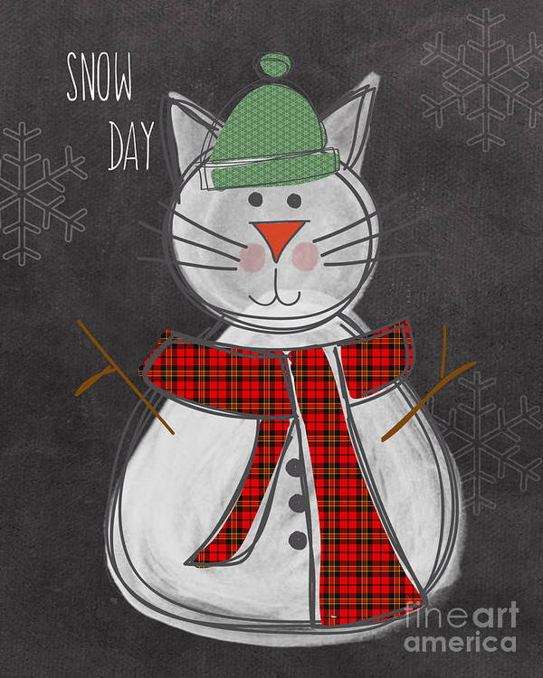 Cat Poster featuring the painting Snow Kitten by Linda Woods