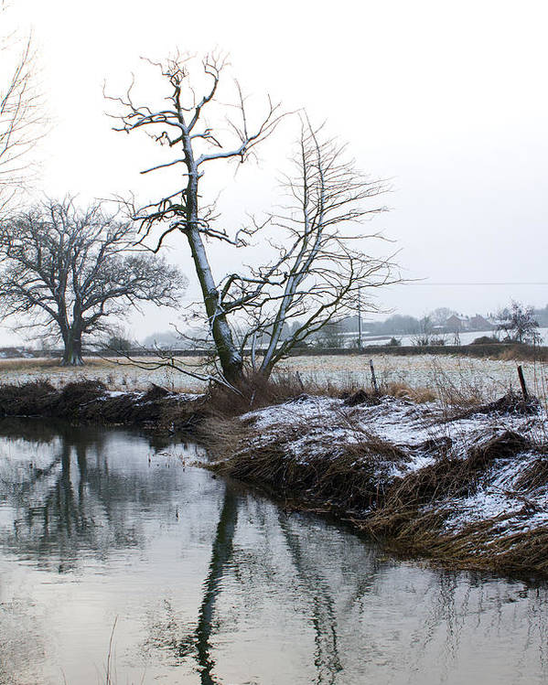 Beautiful Poster featuring the photograph Snow Scene With River Running Through by Fizzy Image