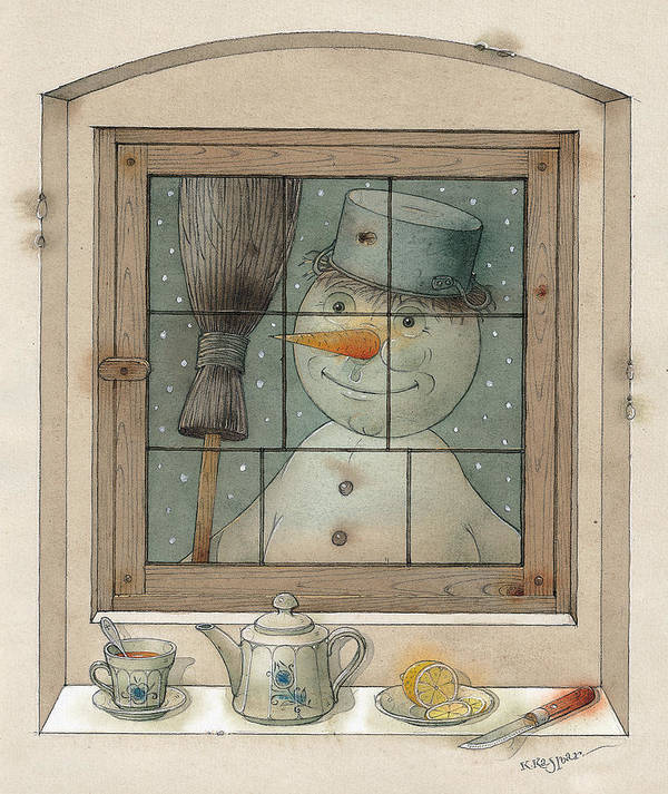 Snowman Winter Tea Breakfast Christmas Holiday Poster featuring the painting Snowman by Kestutis Kasparavicius
