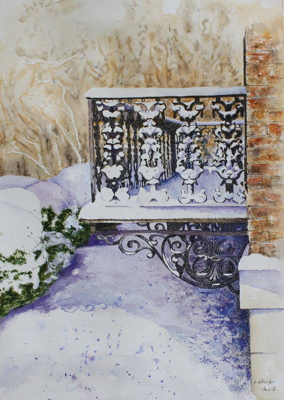 Snow Scene Poster featuring the painting Snowy Ironwork by Patsy Sharpe
