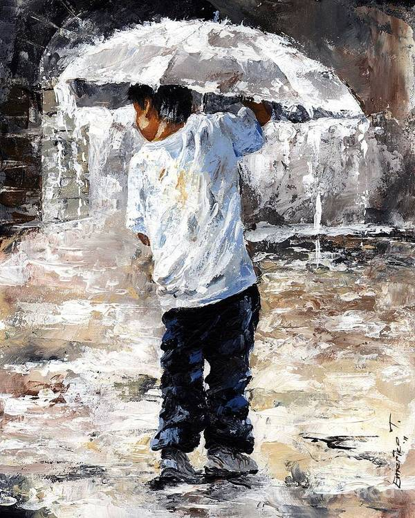 Boy Poster featuring the painting Soaked by Emerico Imre Toth