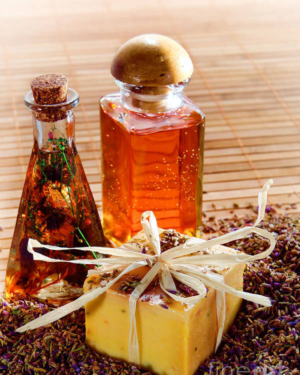 Aromatherapy Poster featuring the photograph Soap And Fragrance Oils by Olivier Le Queinec
