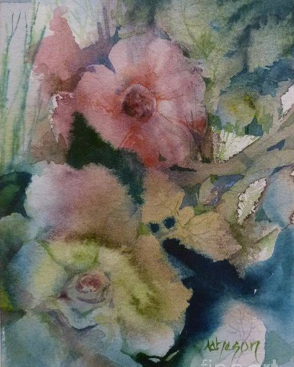 Hortensia Poster featuring the painting Soft Flowers by Donna Acheson-Juillet