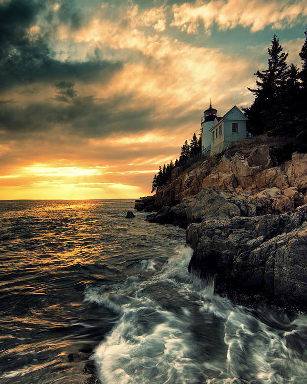 Bass Harbor Lighthouse Poster featuring the photograph Solitude by Chad Tracy