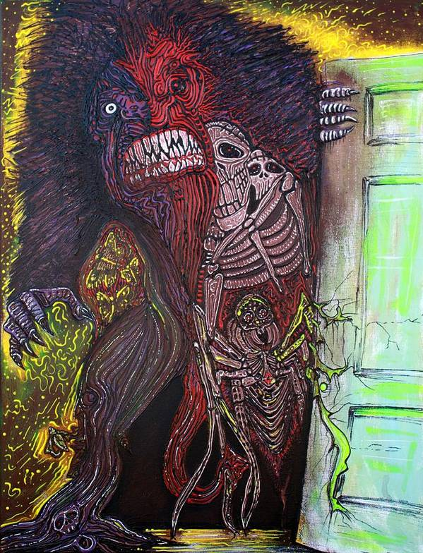 Bigfoot Art Poster featuring the painting Some Thing In My Closet by Laura Barbosa