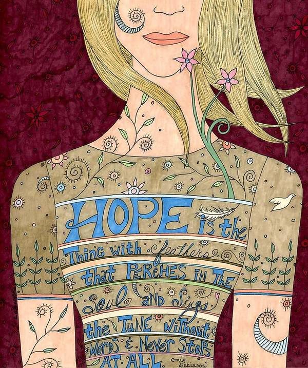 Woman Poster featuring the mixed media Song Of Hope by Valerie Lorimer