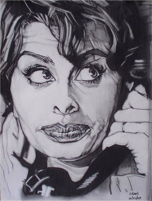 Charcoal;icon;actress;diva;italian;cat Eyes;beautiful;cute;adorable Poster featuring the drawing Sophia Loren Telephones by Sean Connolly