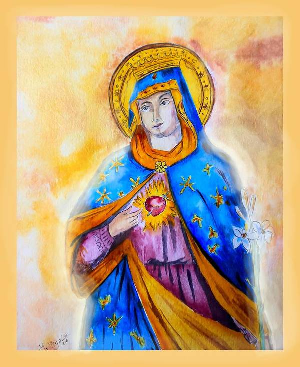 Traditional Poster featuring the painting Sorrowful Immaculate Heart by Myrna Migala