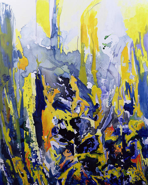 Abstract; Blue; Yellow Poster featuring the painting Sounds So Soothing by Thomas Hampton