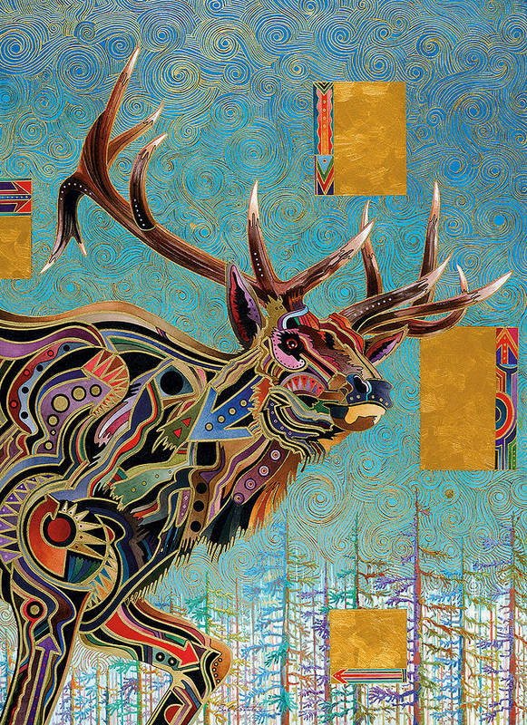 This Was A Commissioned Piece From A Friend. The Elk Was Taken On The Apache Indian Reservation In Arizona. I Tried To Give The Painting And The Subject A Southwestern Color Feel. I Used A Gold Leaf Pen For The Linear Work In The Background Poster featuring the painting Southwestern Elk by Bob Coonts