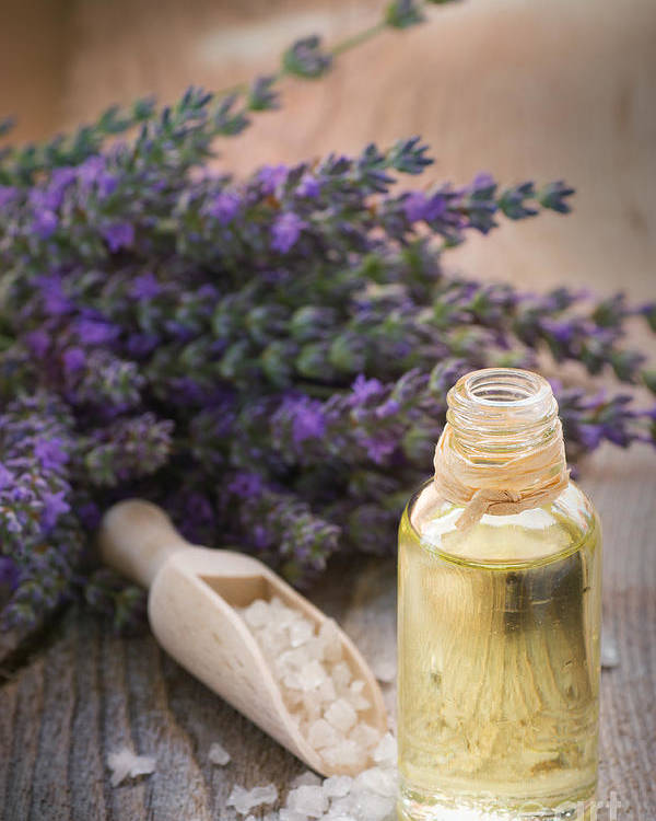 Lavender Poster featuring the photograph Spa With Lavender Oil And Bath Salt by Mythja Photography